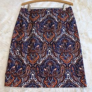 J. CREW Blue Orange White Paisley Pencil Skirt